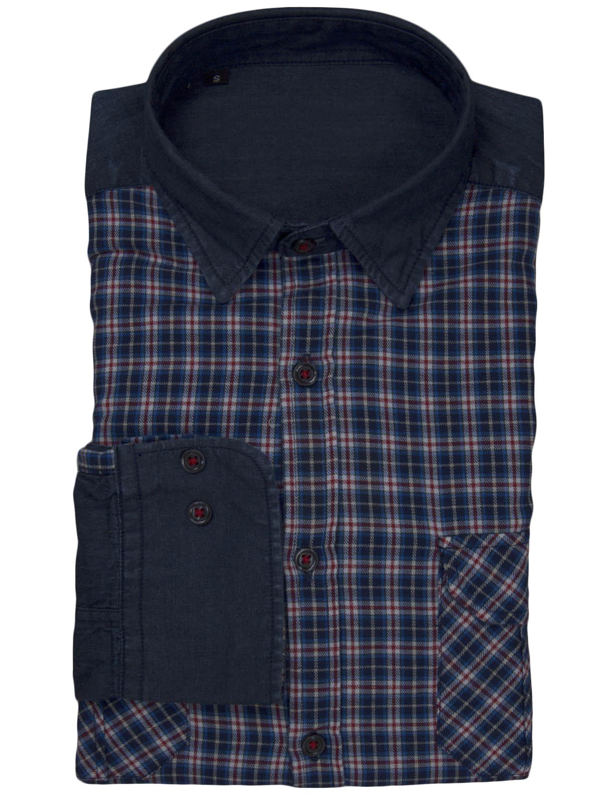 Πουκάμισο με Συνδυασμό Καρό και Τζιν ανδρικά   πουκάμισα