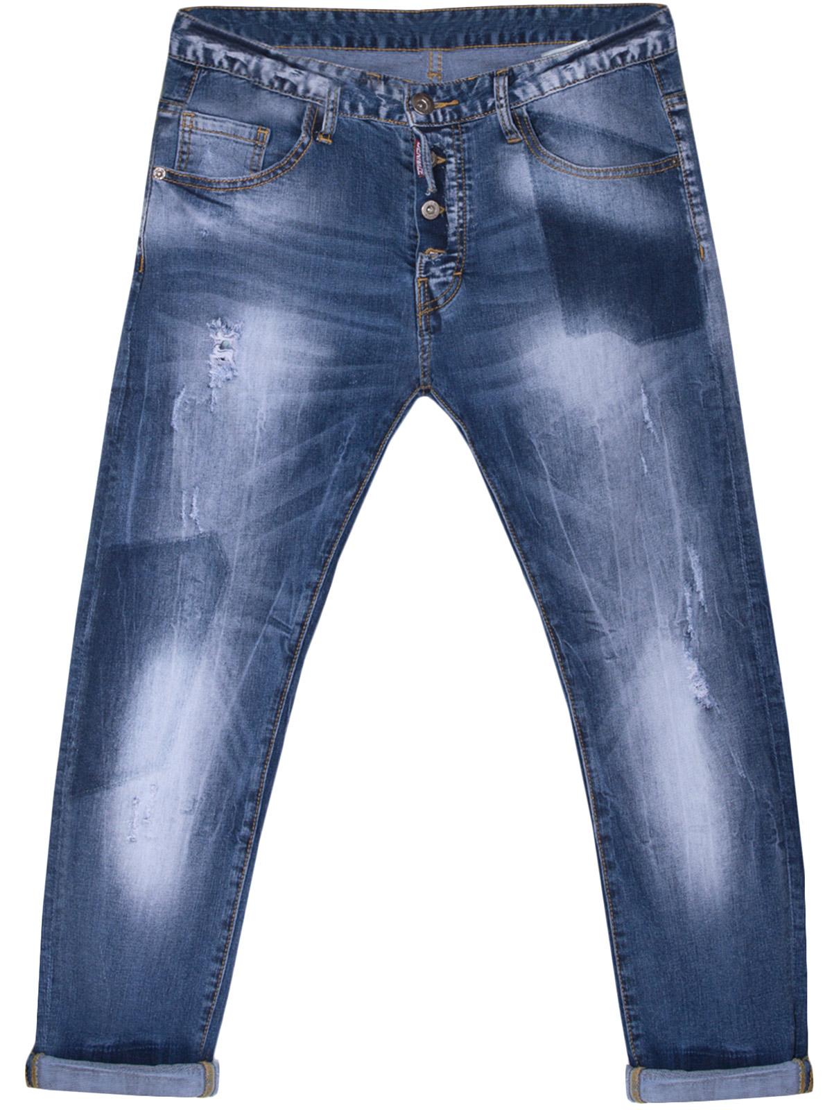 Ελαστικό Τζίν Παντελόνι με Εξωτερικά Κουμπιά ανδρικά   παντελόνια   jeans   τζην παντελόνια ανδρικά