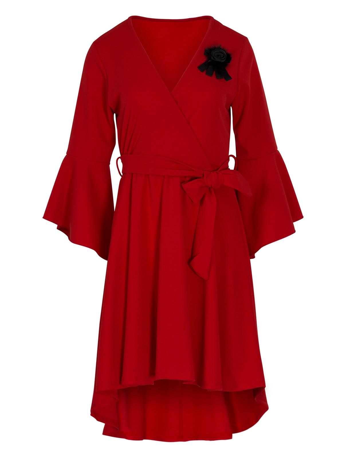 Κόκκινο Ασύμμετρο Φόρεμα με Καρφίτσα γυναικεια   φορέματα   mίνι   μίντι