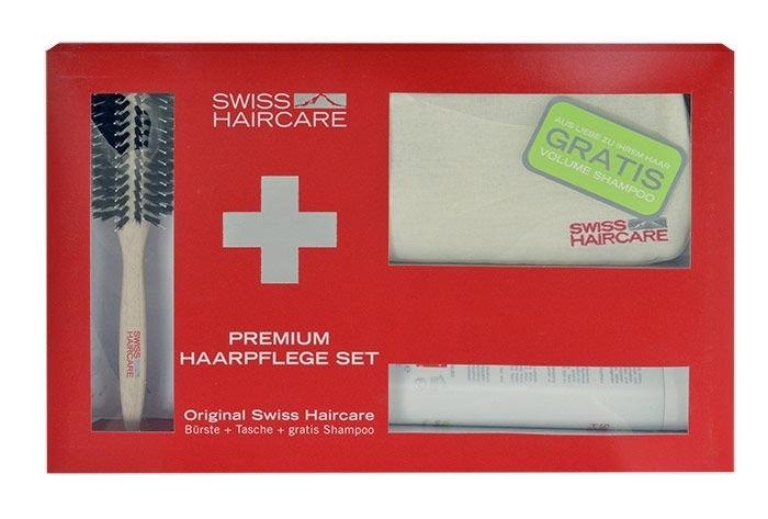 Swiss Haircare Premium Hairbrush 1pc Combo: Round Brush + Bag + 200ml Volume Shampoo