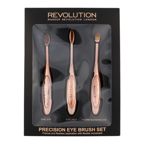 Make Up Revolution London Precision Eye Brush Kit For The Perfect Application Of Eyeshadows - Set Brush For Eyeshadows Round & Brush For Eyeshadows Oval & Brush For Eye Liner
