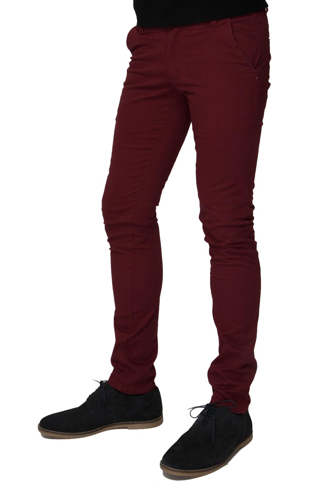 Βαμβακερό Παντελόνι Τσίνο Skinny Fit - Μπορντό ανδρικά   παντελόνια   υφασμάτινα casual
