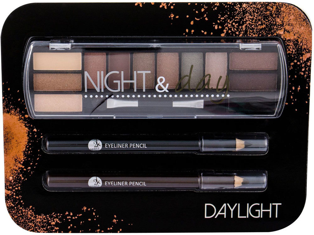 2k Night & Day Eye Shadow Daylight 8,16gr Combo: Eye Shadow Palette 8,16 G + Eyeliner Pencil 0,6 G Black + Eyeliner Pencil 0,6 G Brown