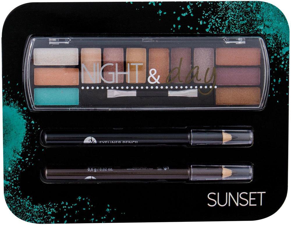2k Night & Day Eye Shadow Sunset 8,16gr + Eyeliner Pencil 0,6gr Black + Eyeliner Pencil 0,6gr Brown