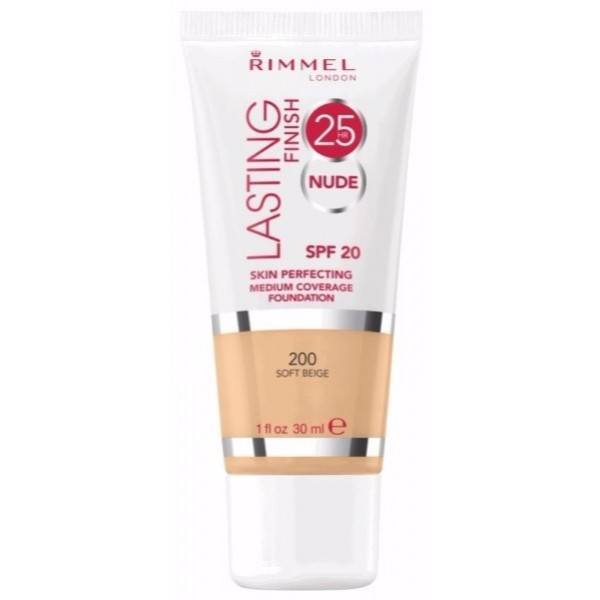 Rimmel Lasting Finish Nude 25 H Make Up - Long-Lasting Make Up 30ml 200 Soft Beige