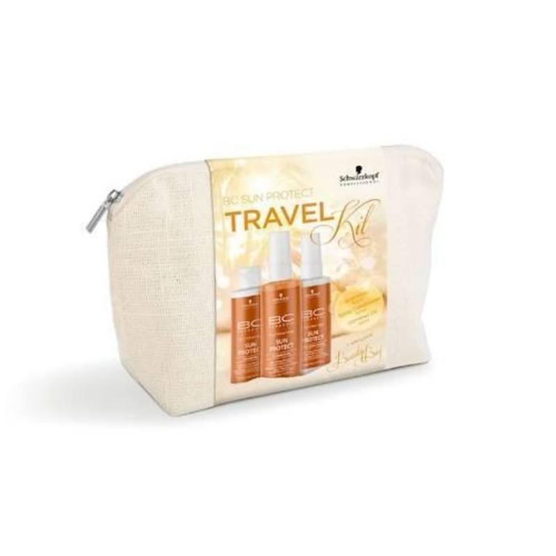 Schwarzkopf BC Sun Protect Travel Kit 300ml To Protect Hair From The Sun: 100ml BC Sun Protect Shampoo & 100ml BC Sun Protect Spray Conditioner & 100ml BC Sun Protect Shimmer Oil & Bag