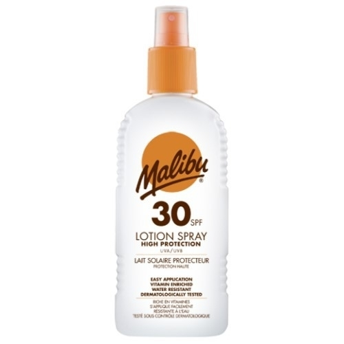 Malibu Lotion Spray Sun Body Lotion 200ml Waterproof Spf30