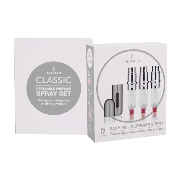 Travalo Classic Hd Refillable 3x5ml Silver Combo: Refilled Flacon 3x5 Ml + Case oμορφια   μαλλιά   αξεσουάρ μαλλιών   σετ περιποίησης μαλλιών
