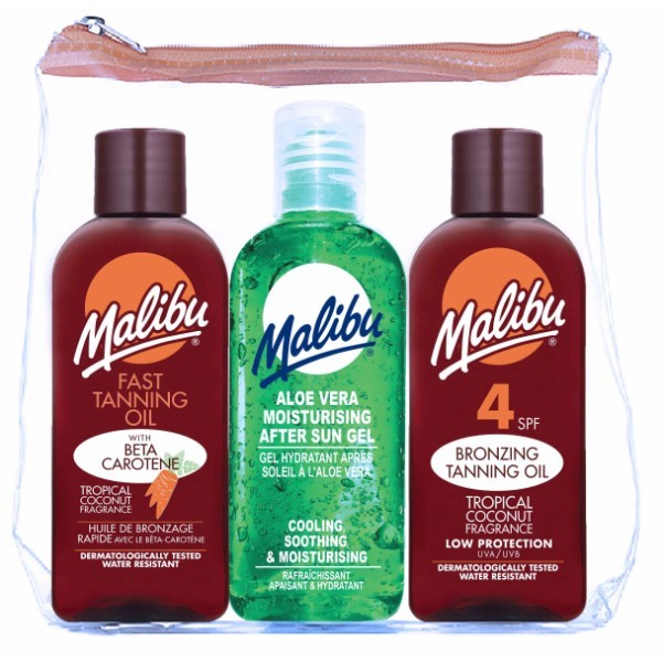 Malibu Dry Oil Spray Sun Body Lotion 100ml Waterproof Spf15 Combo: Dry Sunbathing Oil Spf15 100 Ml + Dry Sunbathing Oil Spf10 100 Ml + Gel After Tanning Aloe Vera 100 Ml