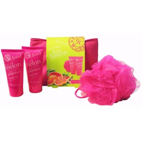 Grace Cole Fruit Works Fruit Fusion 50ml For Fresh And Hydrated Skin - Set Shower Gel Watermelon Pink Grapefruit 50ml + Body Lotion Watermelon Pink Grapefruit 50ml + Sponge + Bag