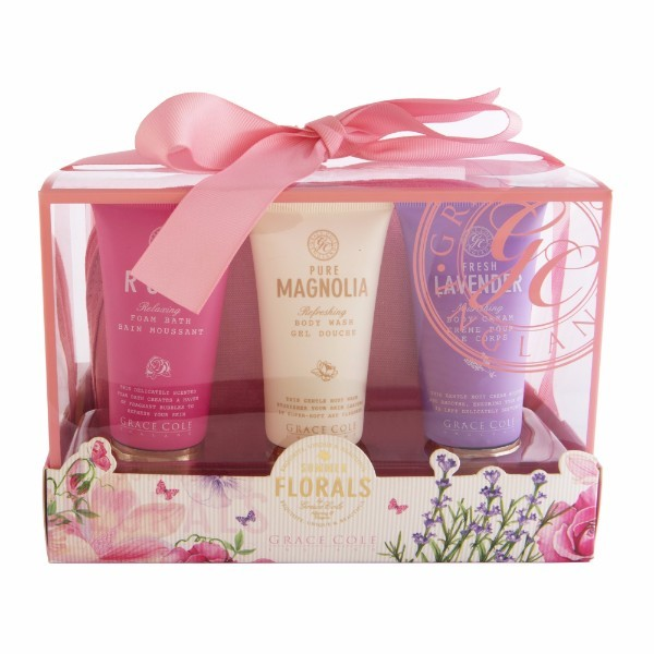 Grace Cole Summer Florals Bath Kit 50ml For Fresh And Hydrated Skin - Set Bath Foam Romantic Rose 50ml + Shower Gel Pure Magnolia 50ml + Body Cream Fresh Lavender 50ml + Bag