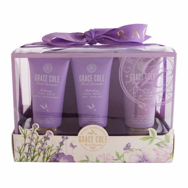 Grace Cole Fresh Lavender Luxury Kit 50ml - Set Bath Foam Relaxing 50ml & Shower Gel Refreshing 50ml & Body Cream Nourishing 50ml & Bag