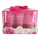 Grace Cole Romantic Rose Bath Kit 50ml For Fresh And Hydrated Skin - Set Bath Foam Relaxing 50ml + Shower Gel Refreshing 50ml + Body Cream Nourishing 50ml + Bag