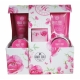 Grace Cole Romantic Rose Luxury Kit 100ml For Fresh And Hydrated Skin - Set Bath Foam Relaxing 150ml + Shower Gel Refreshing 150ml + Body Cream Moisturising 100ml + Soap 100 G + Bath Salt 100 G + Sponge