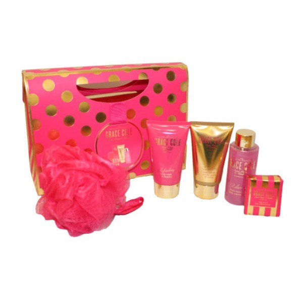 Grace Cole Sweet Peony Vanilla Luxury Kit 75ml For Fresh And Hydrated Skin - Set Shower Gel Refreshing 75ml + Body Cream Smoothing 75ml + Bath Essence 100ml + Sparkling Tablet 45 G + Sponge