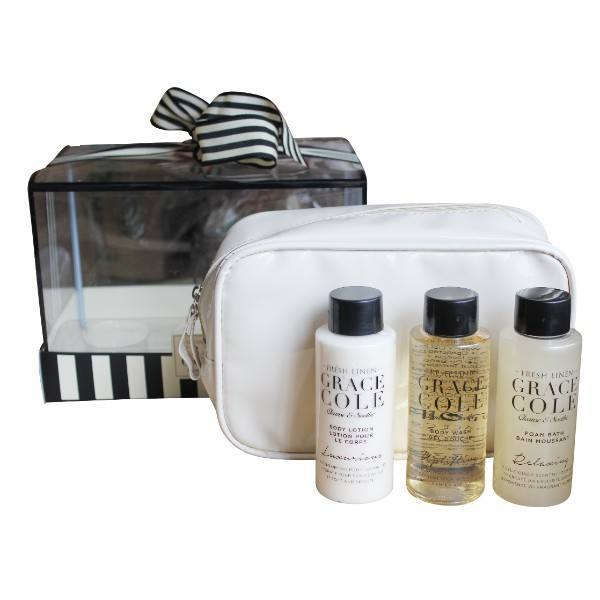Grace Cole Fresh Linen Bath Kit 100ml For Fresh And Moisturized Skin - Bath Foam Relaxing 100ml & Shower Gel Uplifting 100ml & Body Lotion Luxurious 100ml & Bag