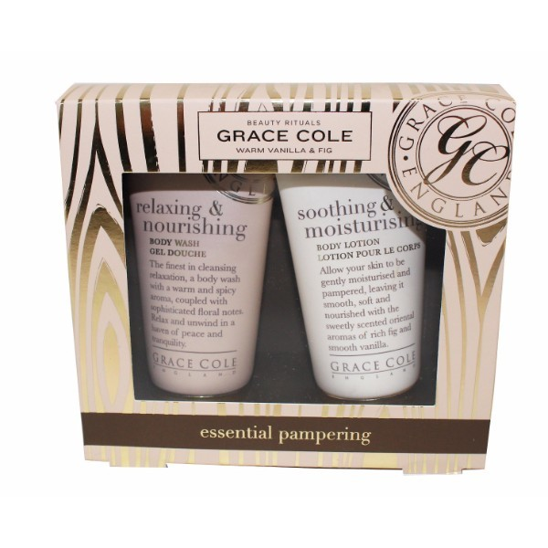 Grace Cole Warm Vanilla Fig Essential Pampering Kit 50ml For Fresh And Hydrated Skin - Set Shower Gel Relaxing Nourishing 50ml + Body Lotion Soothing Moisturising 50ml