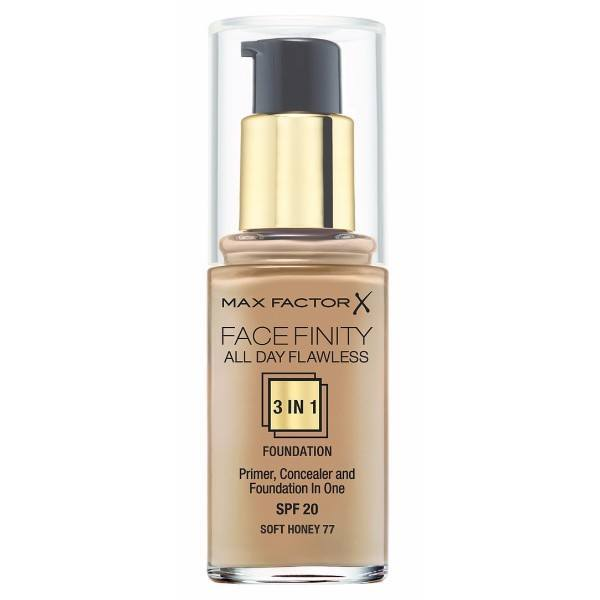 MAX FACTOR Facefinity All Day Flawless 3in1 Foundation SPF20 77 Soft Honey 30ml