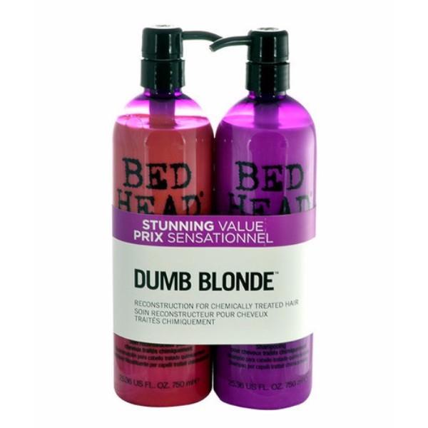 Tigi Bed Head Dumb Blonde Shampoo 750ml Combo: 750ml Bed Head Dumb Blonde Shampoo + 750ml Bed Head Dumb Blonde Reconstructor (Blonde Hair - Damaged Hair)