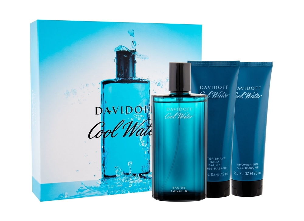 Davidoff Cool Water Eau De Toilette 125ml Combo Edt 125ml + 75ml After Shave Balm + 75ml Shower Gel