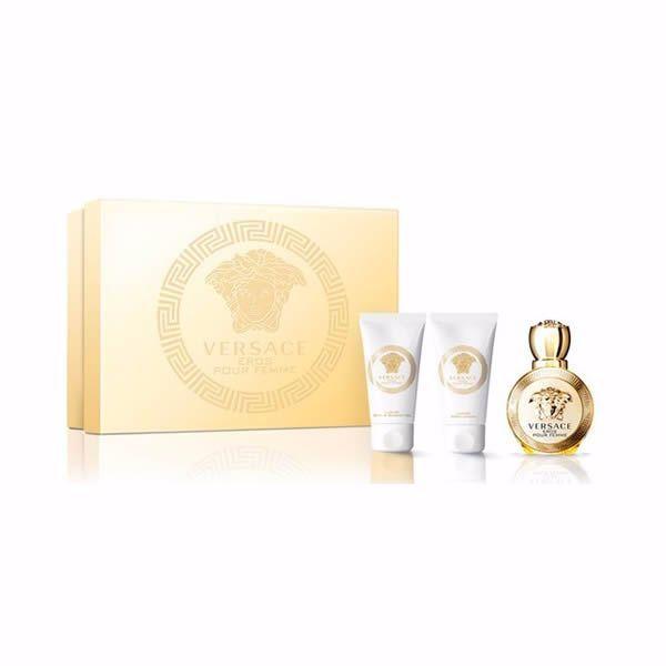 Versace Eros Mini-Kits Pour Femme Eau De Parfum 5ml, Eros Pour Femme Shower Gel 25ml And Eros Pour Femme Body Lotion 25ml