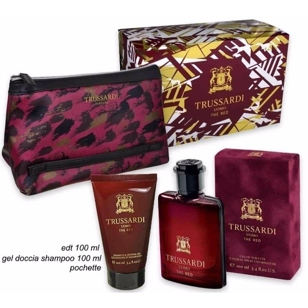 Trussardi Uomo The Red Eau De Toilette 100ml Combo: Edt 100 Ml + Shower Gel 100 Ml + Cosmetic Bag