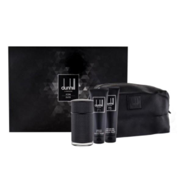 Dunhill Icon Elite Eau De Parfum 100ml Combo: Edp 100 Ml + Shower Gel 90 Ml + Aftershave Balm 90 Ml + Cosmetic Bag