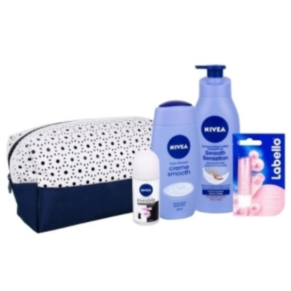 Nivea Creme Smooth Shower Gel 250ml Combo: Shower Gel 250 Ml + Antiperspirant Invisible For Black & White Clear 50 Ml + Body Lotion 400 Ml + Labello Pearly Shine 4,8 G + Bag