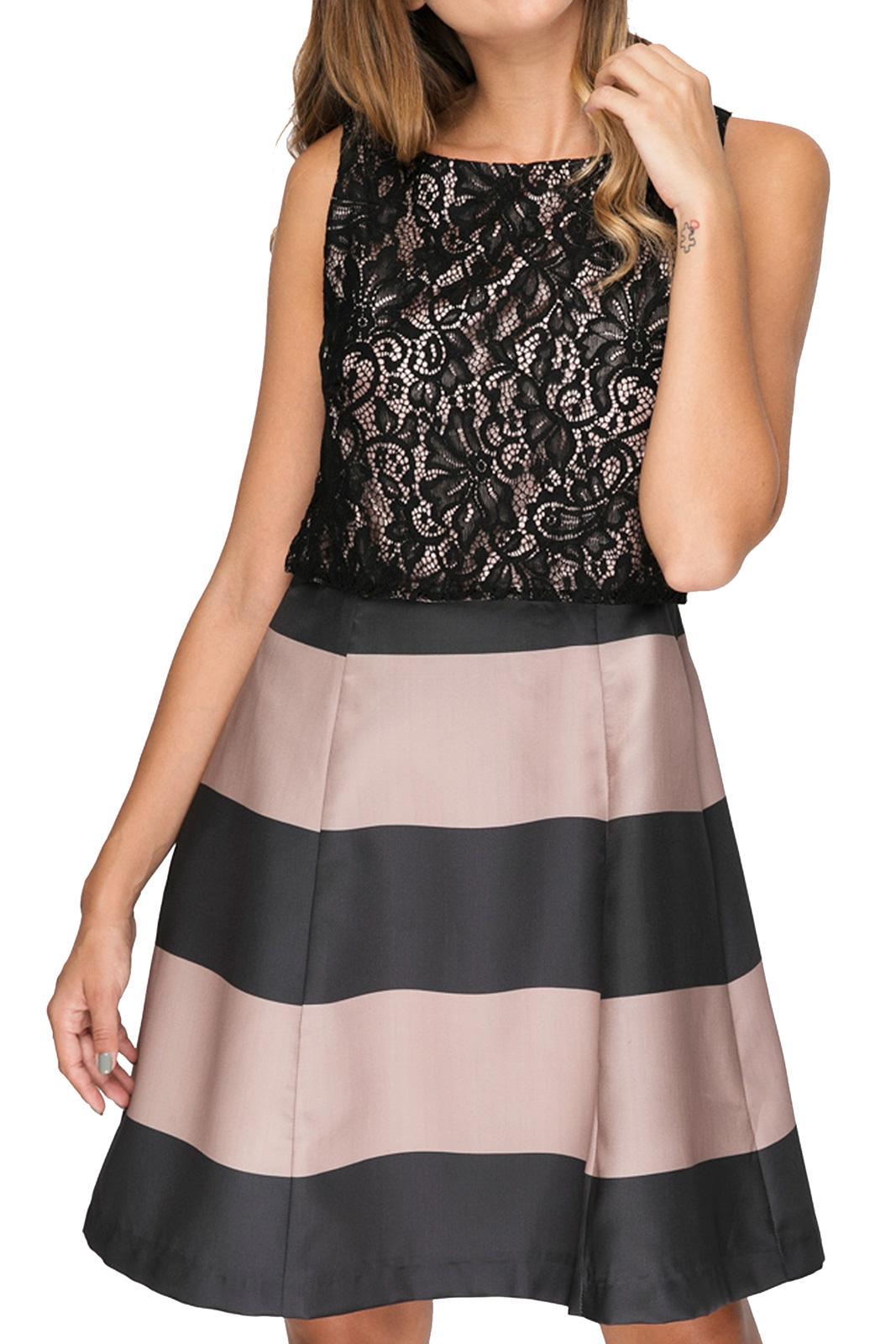 Φόρεμα με Ρίγες και Τοπ Δαντέλα
