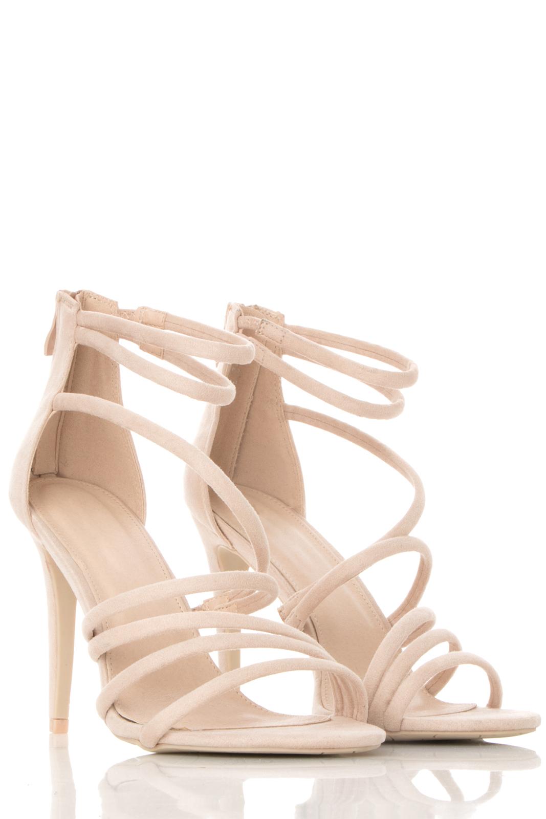 Πέδιλο Μπέζ με Λουριά και Τακούνι γυναικεία   παπούτσια   πέδιλα