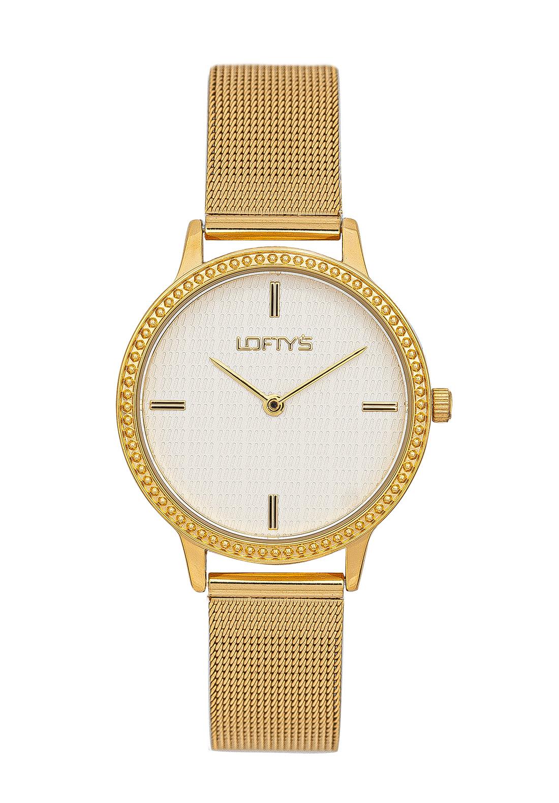 Ρολόι Loftys Cassiopi Χρυσό Μπρασελέ με Λευκό Καντράν και Κρύσταλλα Y2014-9