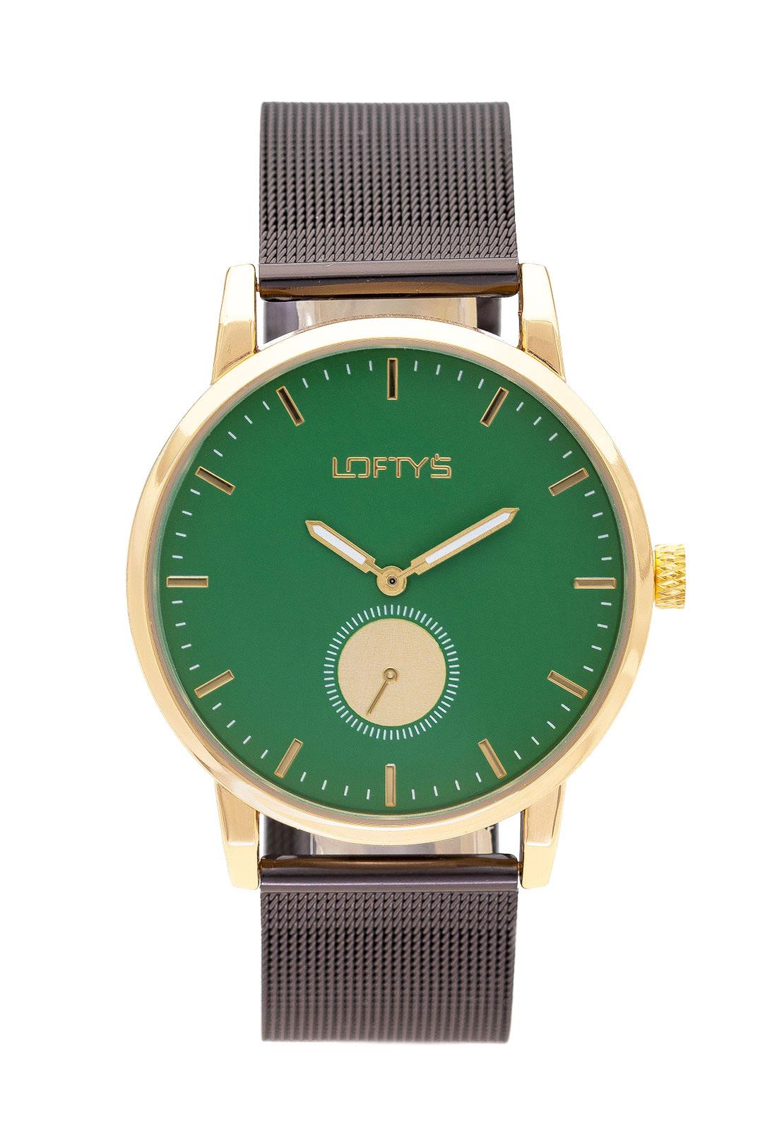 Ρολόι Loftys Scorpio με μαύρο μπρασελέ και πράσινο καντράν Y3411-2