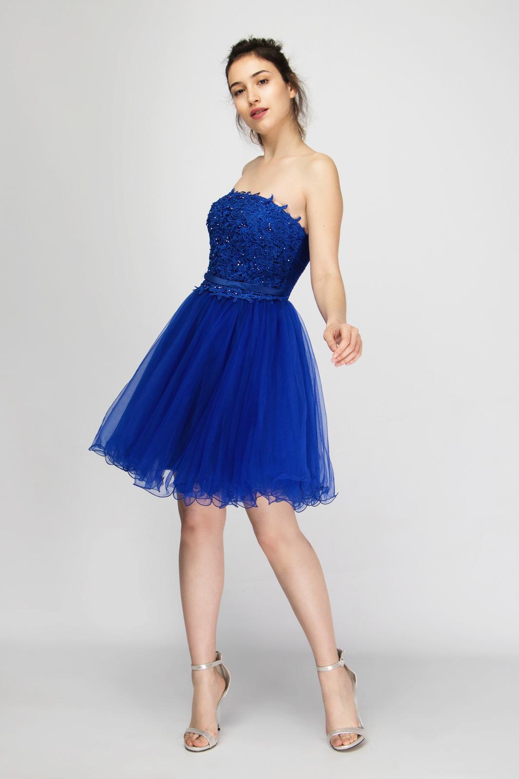 Μίνι Φόρεμα Strapless με Εσάρπα