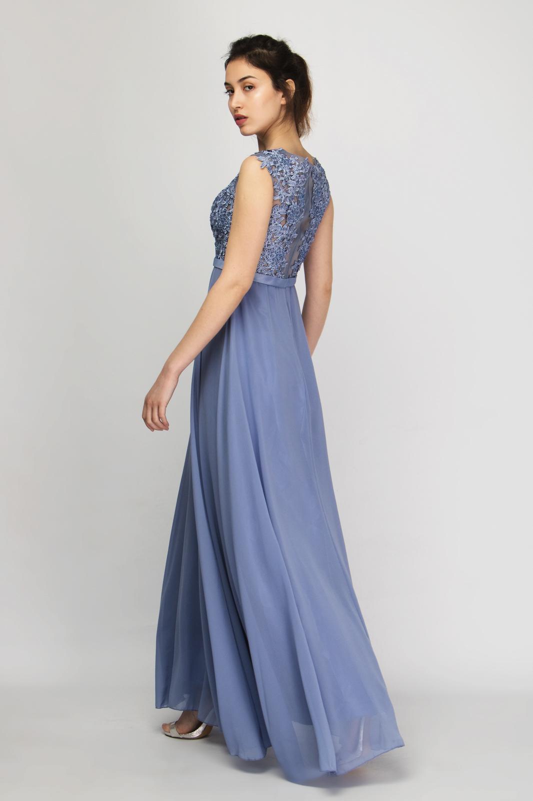 cc6fd4b6d94e Μάξι Φόρεμα Chiffon με Δαντέλα και Strass