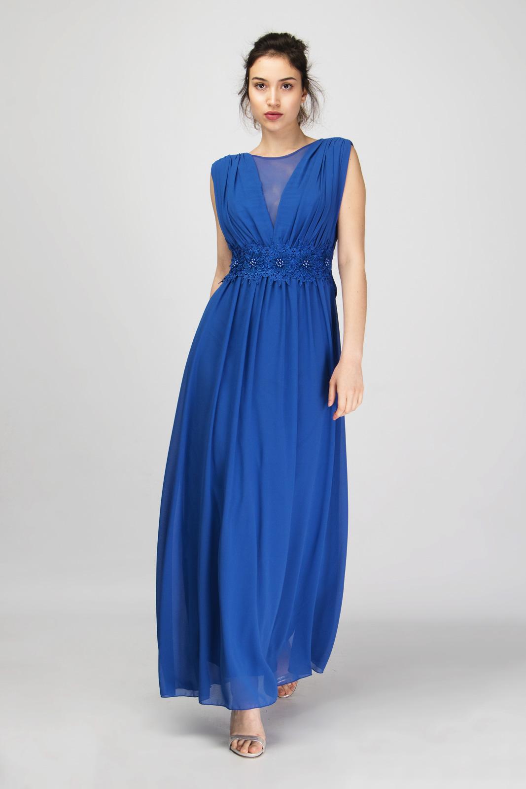 Μάξι Αμάνικο Φόρεμα Διακοσμημένο με Δαντέλα