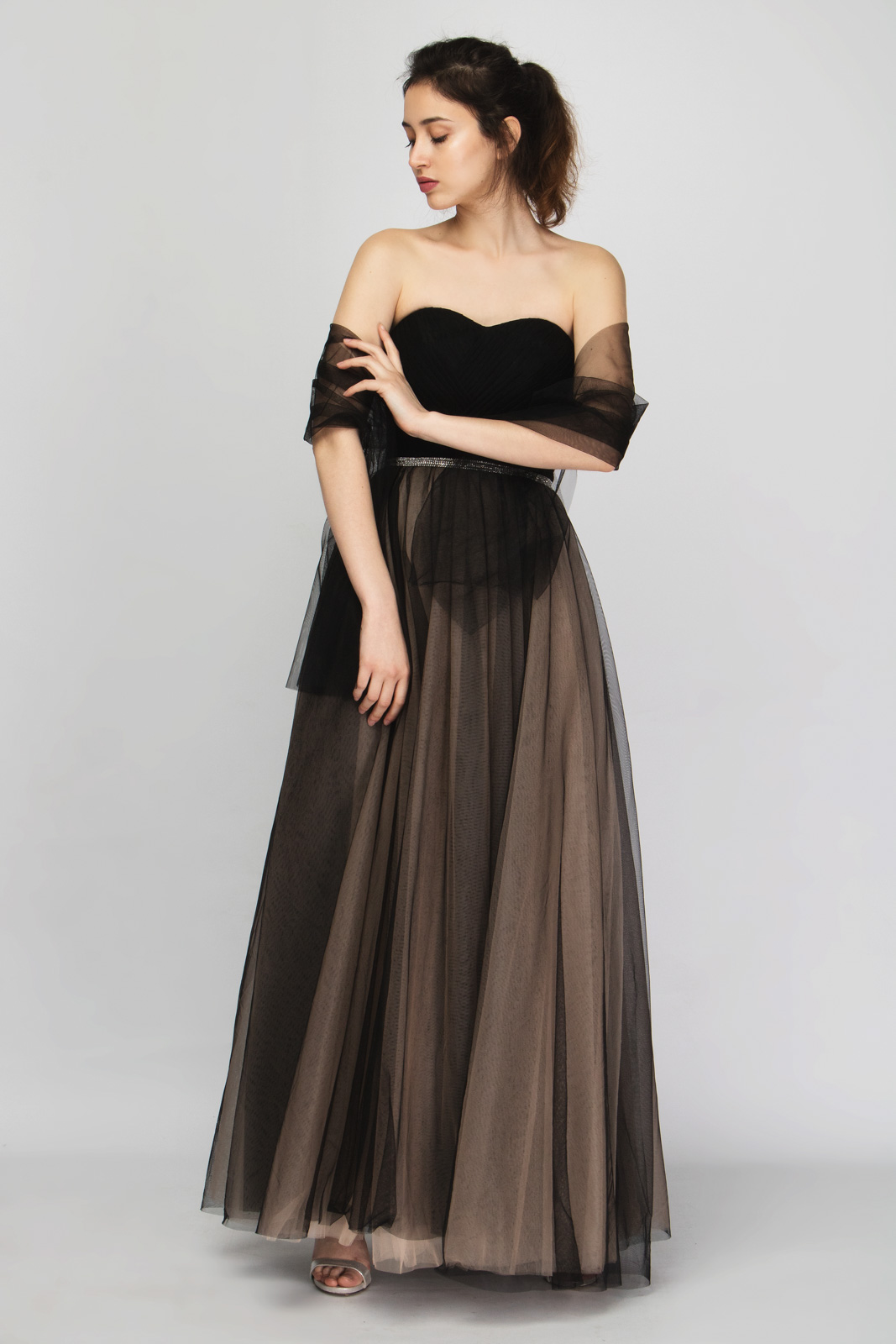 c54705a6e2d9 Μάξι Φόρεμα Στράπλες με Εσάρπα