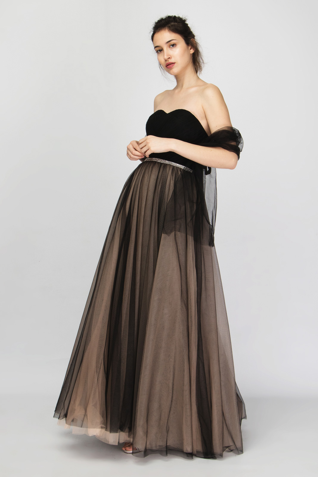 Μάξι Φόρεμα Στράπλες με Εσάρπα