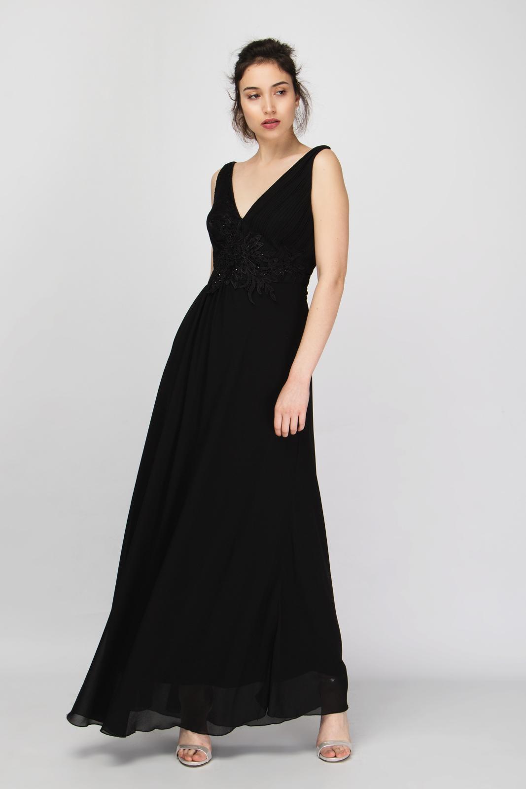 4b87fba6eb46 Μάξι Φόρεμα Chiffon V Μπούστο με Μοτίφ Strass
