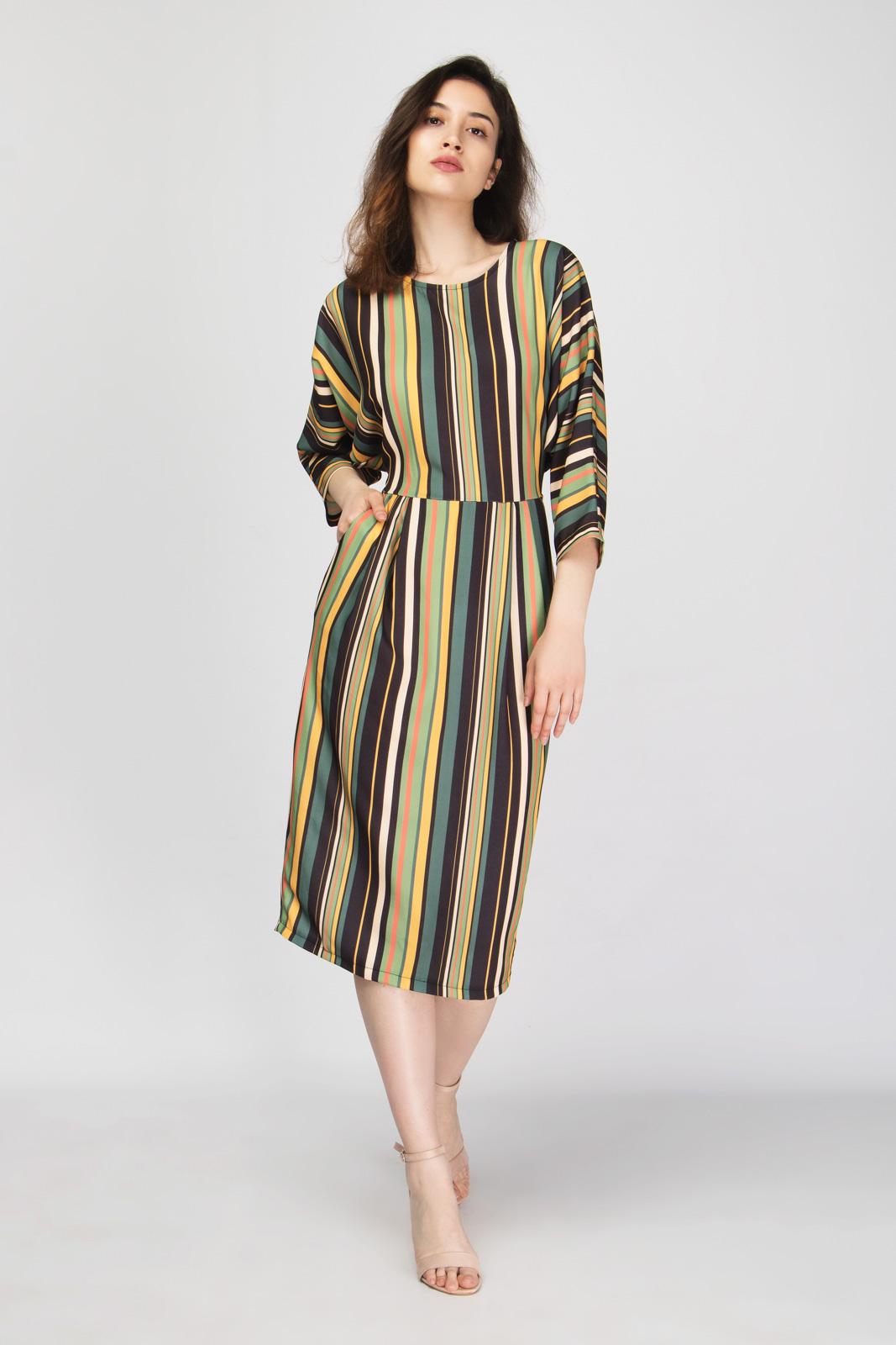 32b44533d375 Ριγέ Φόρεμα με Τσέπες