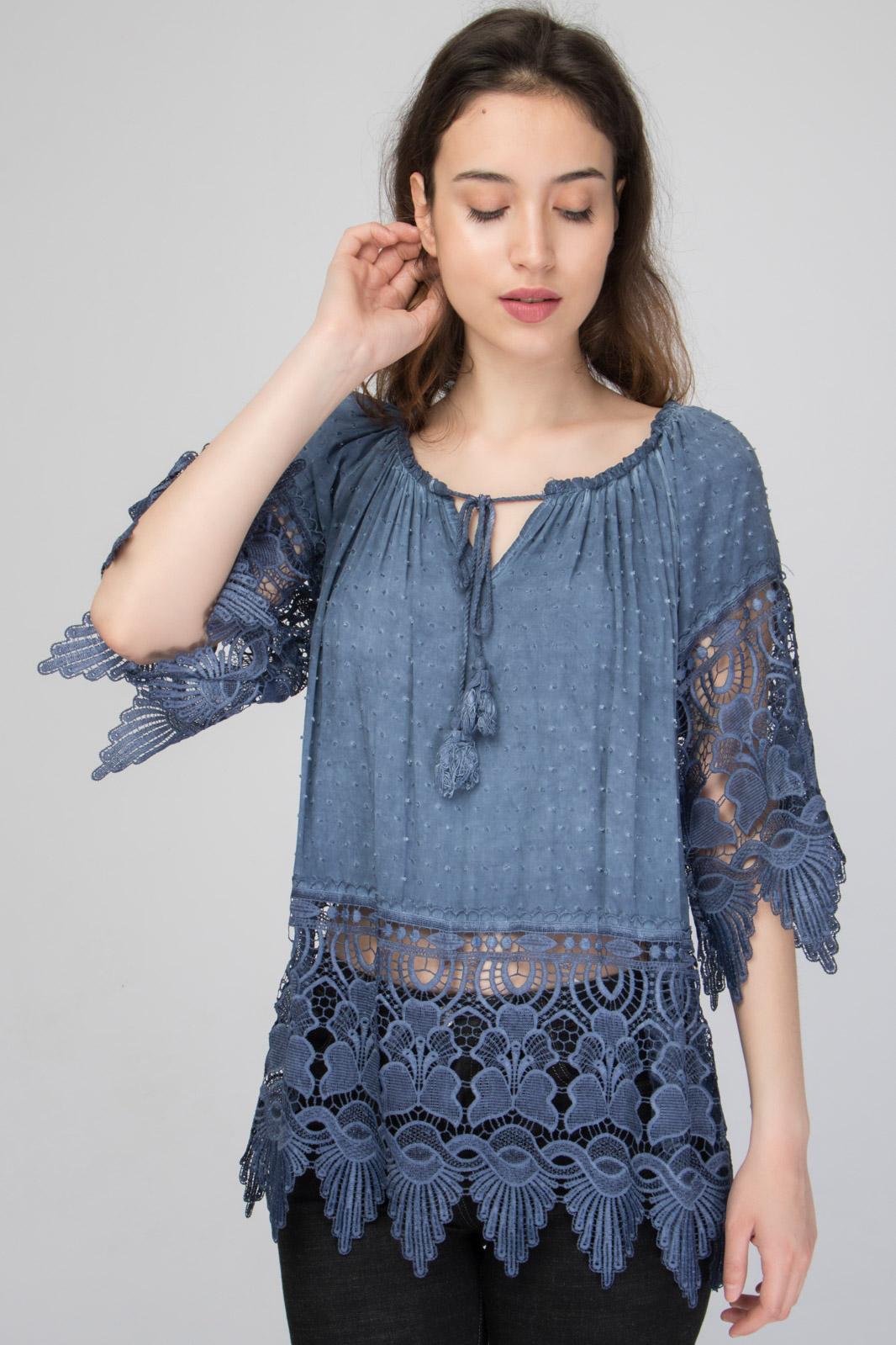 Μπλούζα με Δαντέλα Κιπούρ