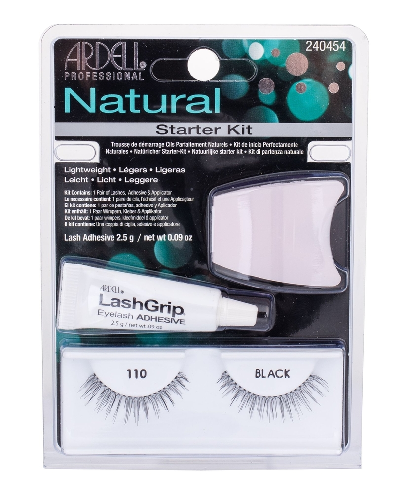 Ardell Natural False Eyelashes 1pc Black Combo: Fake Eyelashes Demi Wispies 110 1 Couple + Algae Adhesive 2,5 G + Applicator