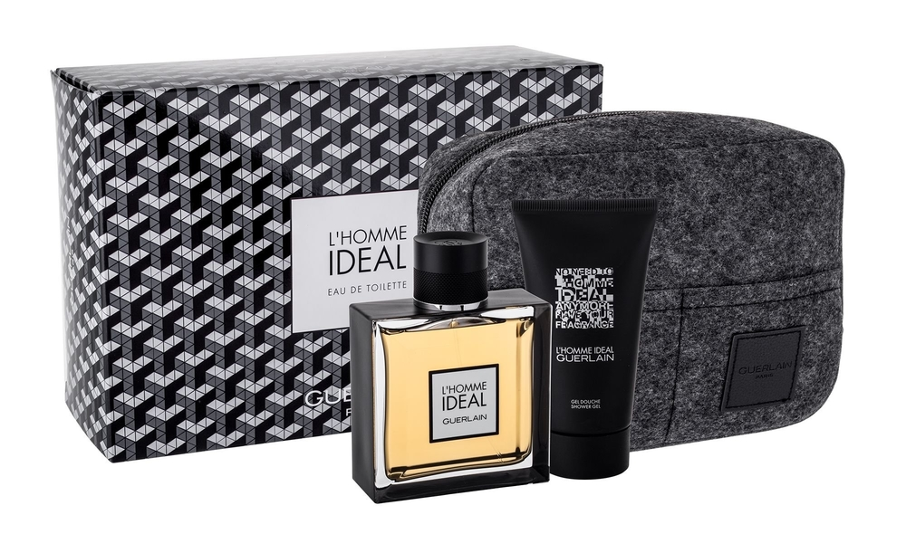 Guerlain L/homme Ideal Eau De Toilette 100ml Combo: Edt 100ml + 75ml Shower Gel + Cosmetic Bag