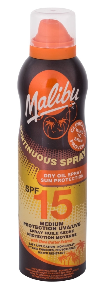Malibu Continuous Spray Dry Oil Sun Body Lotion 175ml Waterproof Spf15