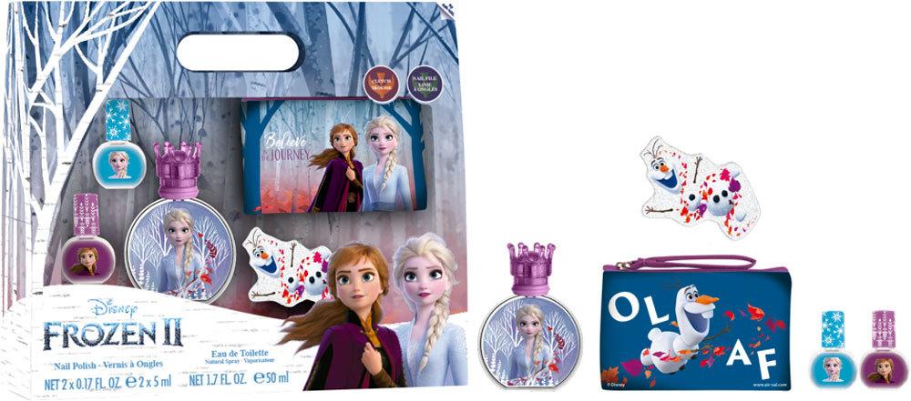 Disney Frozen II Eau de Toilette 50ml Combo: Edt 50 Ml + Nail Polish 2 X 5 Ml + Cosmetic Bag