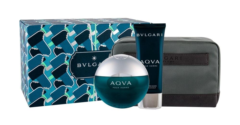 Bvlgari Aqva Pour Homme Eau De Toilette 100ml Combo Edt 100 Ml + Aftershave Balm 100 Ml + Cosmetic Bag