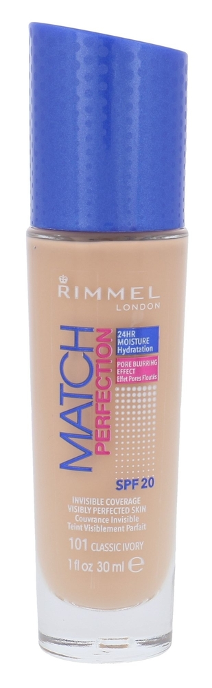 Rimmel London Match Perfection Spf20 Makeup 30ml 101 Classic Ivory