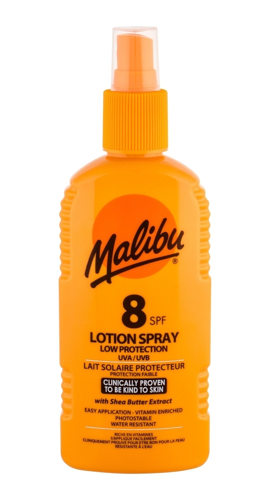 Malibu Lotion Spray Sun Body Lotion 200ml Waterproof Spf8
