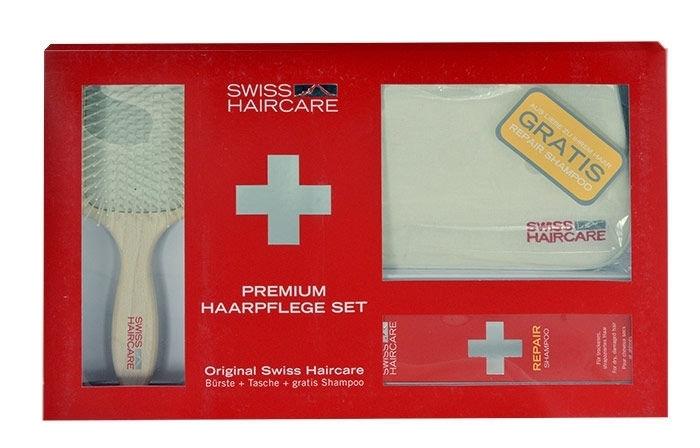 Swiss Haircare Premium Hairbrush 1pc Combo: Paddle Brush + Bag + 200ml Repair Shampoo