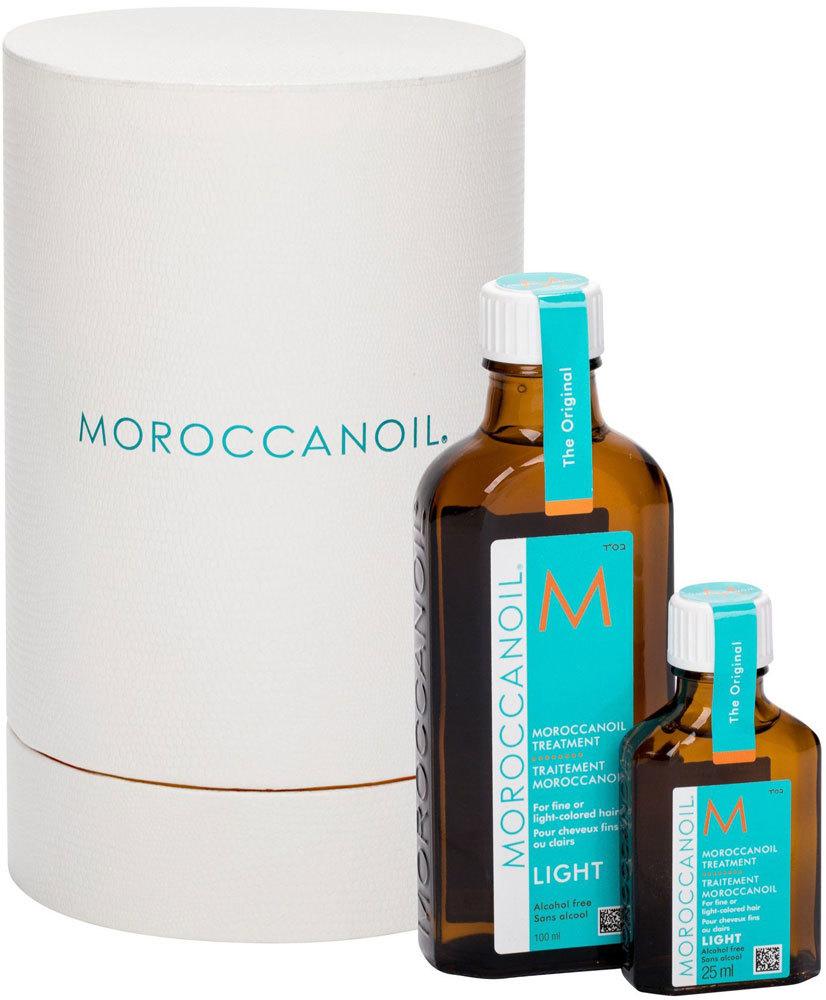 Moroccanoil Treatment Light Hair Oils and Serum 100ml Combo: Hair Oil 100 Ml + Hair Oil 25 Ml (Blonde Hair - Fine Hair - Grey Hair)