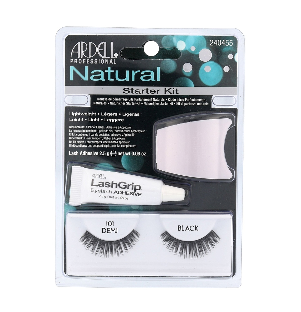 Ardell Natural False Eyelashes 1pc Black Combo: Eyelashes Demi Wispies 101 1 Pair + Eyeuasjes Glue 2,5 G + Applicator